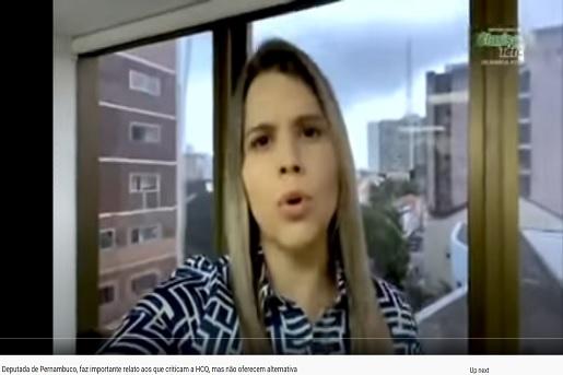 Deputada pernambucana promove uso indiscriminado da hidroxicloroquina