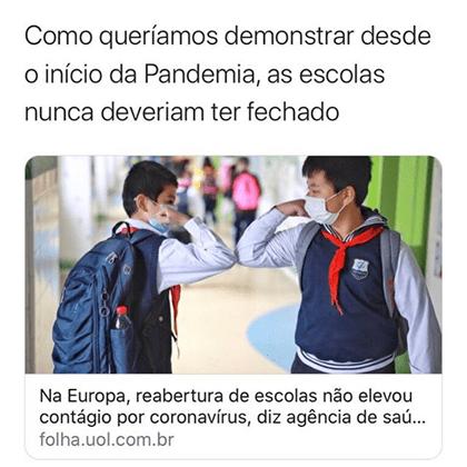 Na Europa reabertura das escolas não aumentou o contágio pelo novo coronavírus, afirma estudo