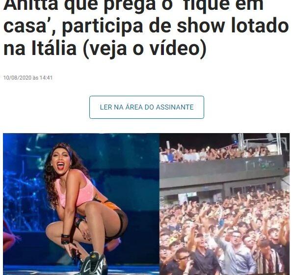 Anitta é criticada por aglomerar pessoas em show na Itália, mas realidade europeia é diferente da brasileira