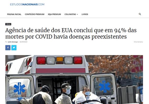 Novo coronavírus causou apenas 6% das mortes nos EUA?