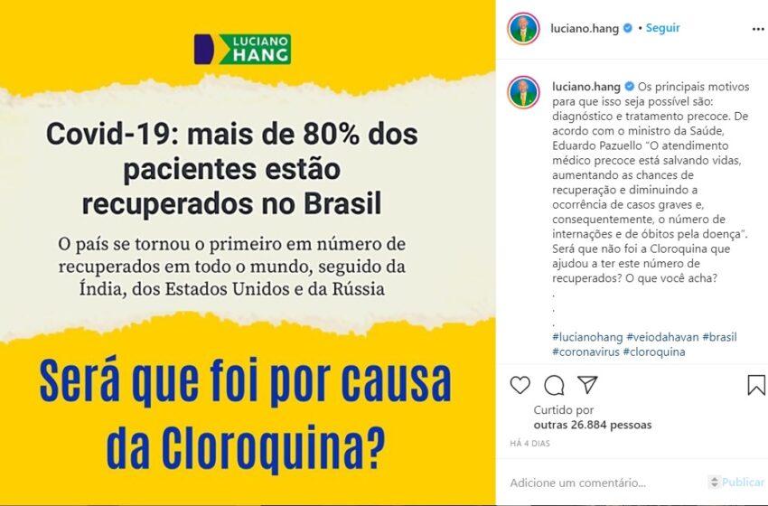 Brasil atinge o primeiro lugar em recuperados por COVID-19, mas o posto não tem relação com uso da cloroquina