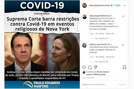 Deputado brasileiro comemora suspensão de medidas de controle da Covid-19 nos EUA