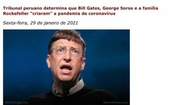 """Tribunal peruano afirma que Bill Gates criou coronavírus em nome da """"Nova Ordem Mundial"""""""