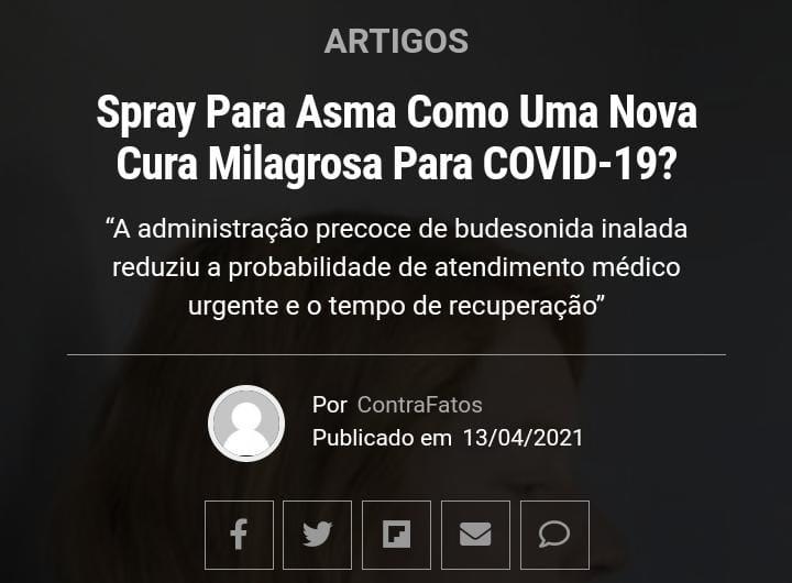 Spray para asma tem resultados positivos no tratamento contra covid-19